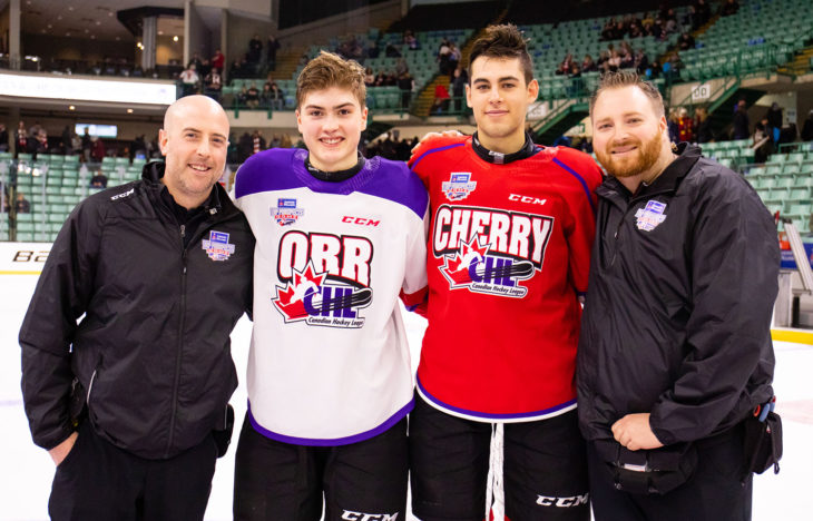Brian Cheeseman, Josh WIlliams, Matthew Robertson and Rogan Dean (l-r) represented the Edmonton Oil Kings at the 2019 CHL/NHL Sherwin-Williams Top Prospects Game in Red Deer, AB on January 23.