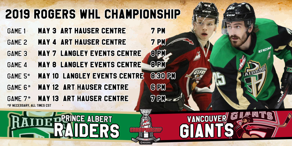 Raiders Face Off With Giants In 2019 Rogers Whl Championship Series