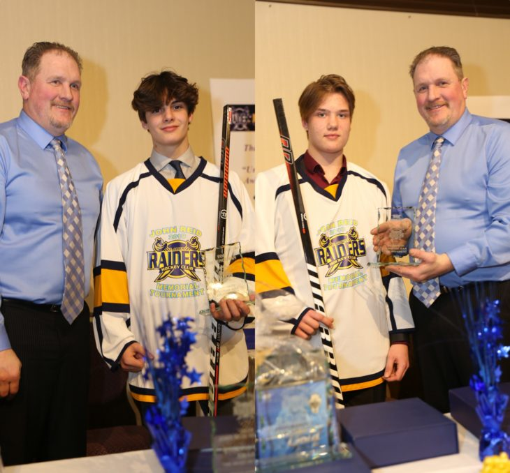 Keaton Dowhaniuk (L) & Koehn Ziemmer were named the Top Defenceman & Top Forward respectively at the John Reid Memorial Bantam Tournament.
