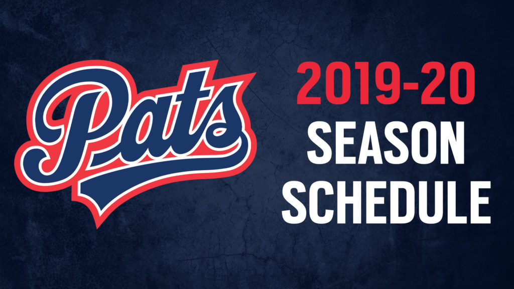 graphic regarding Patriots Printable Schedule named Pats announce 2019-20 month to month year routine Regina Pats