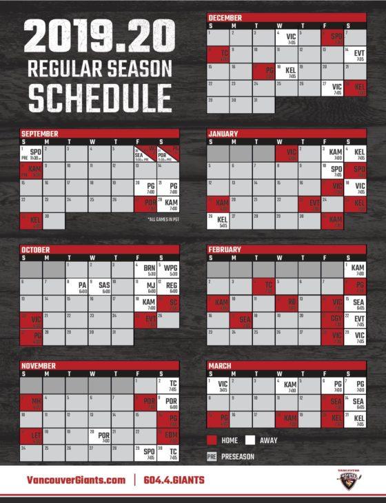 Giants Schedule 2020.Vancouver Giants Release 2019 20 Regular Season Schedule
