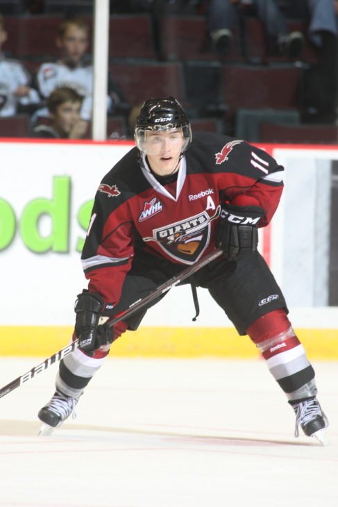 Vancouver Giants assistant captain Brendan Gallagher poised to receive a pass during game action.