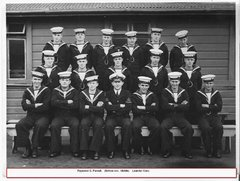 My grandfather front row centre HMNZS Leander WW2