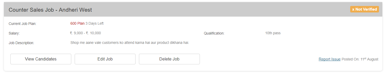 Job Post On Dashboard