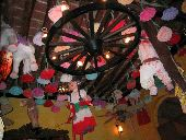 A restaraunt in the Copper Canyon region is brightly decorated with pinatas.