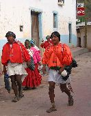 Tarahumara in Batopilas wear brightly colored red tops.