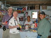 Participants enjoy sodas with the locals at a pit stop in Mexico on the way to Copper Canyon.