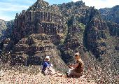 Jane and friend enjoying the a beautiful canyon outlook in the Copper Canyon.