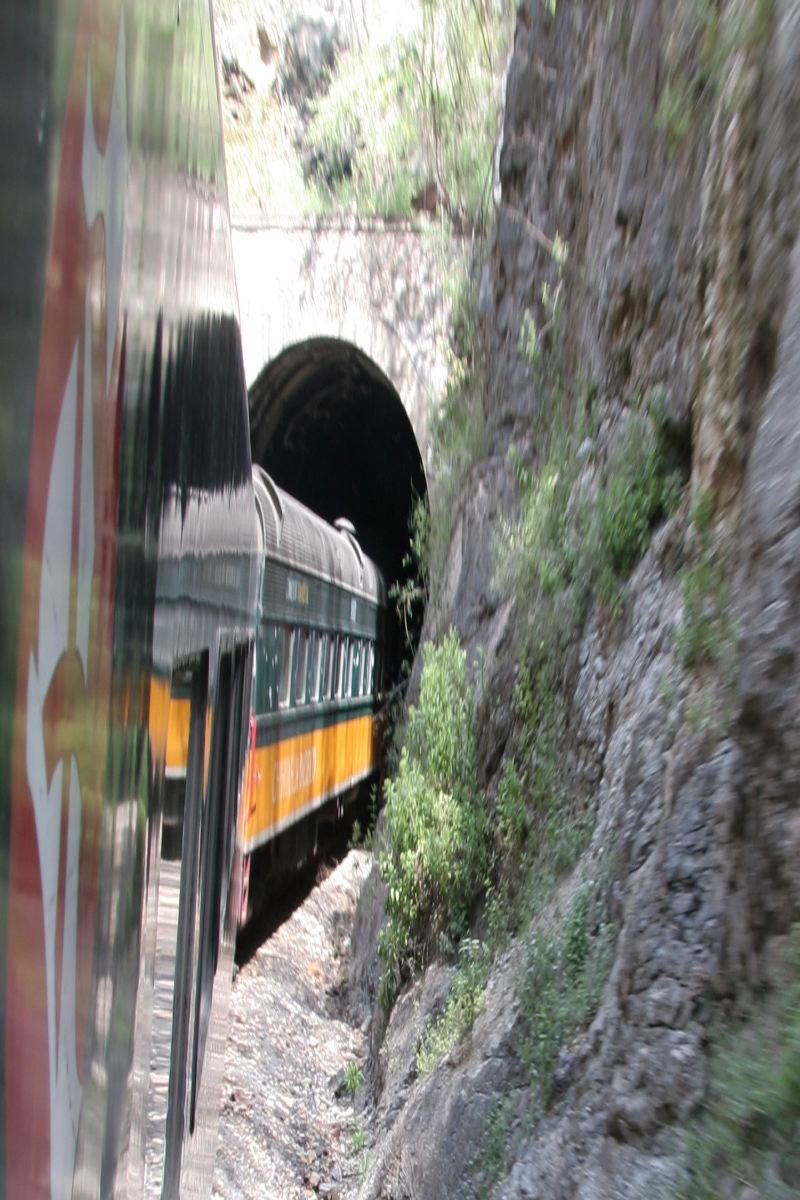 Copper Canyon train heading into a tunnel. The train is a marvel of engineering, a modern and comfortable way to travel through the Sierra Madres.