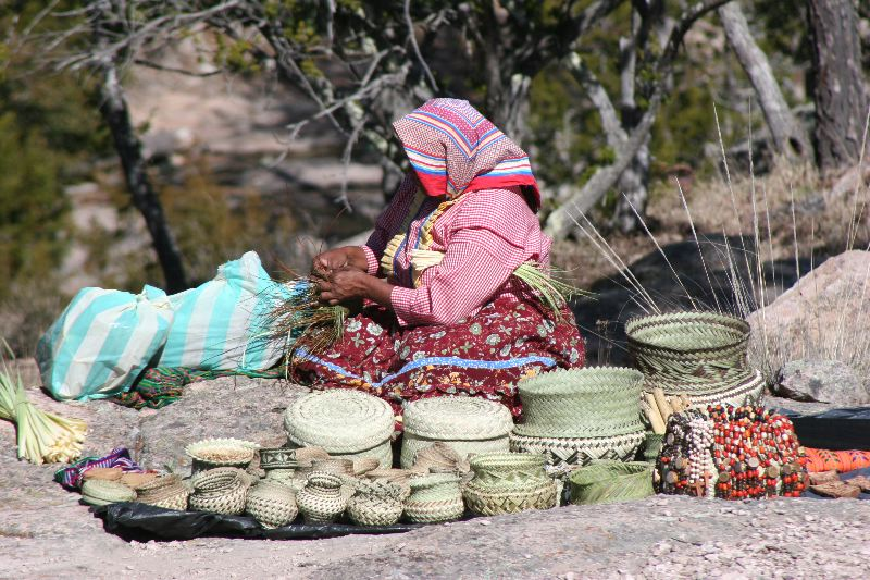 Tarahumara women weaving baskets in Copper Canyon near Divisadero.