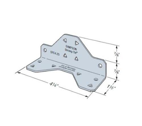 1 1/2 in x 1 3/4 in x 4 1/4 in x 16 Gauge 54 mil Simpson Strong-Tie SFC Steel Framing Connector