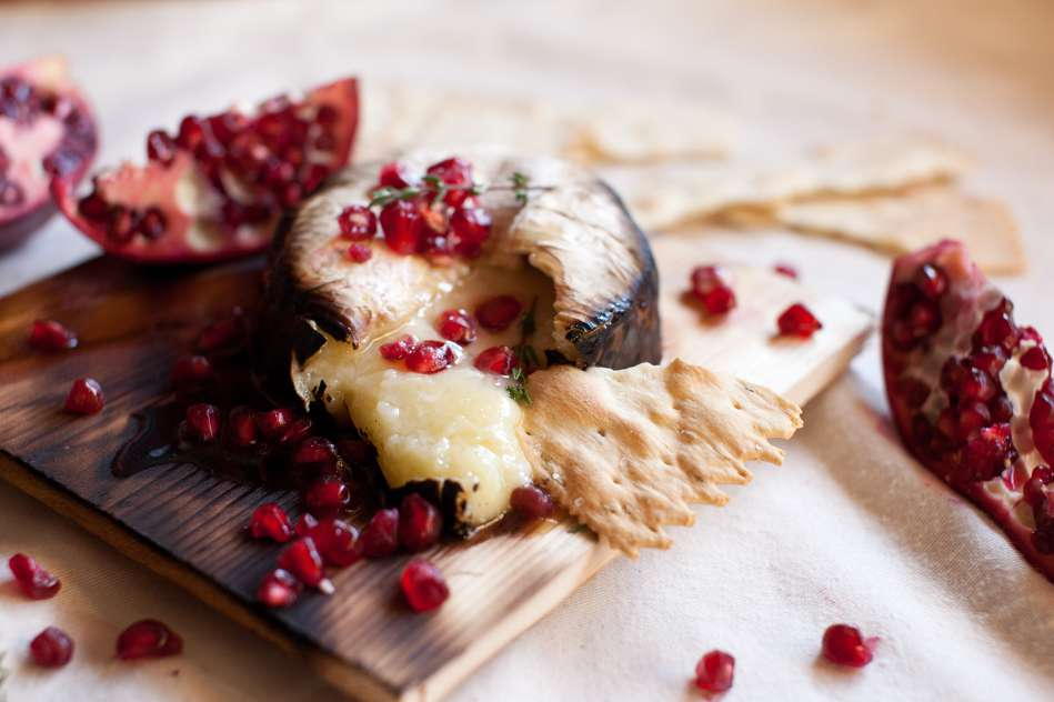 Cedar Planked Camembert with Pomegranate Recipe
