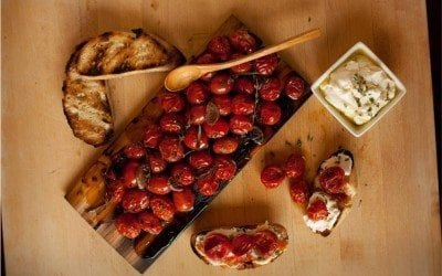 cedar planked cherry tomatoes
