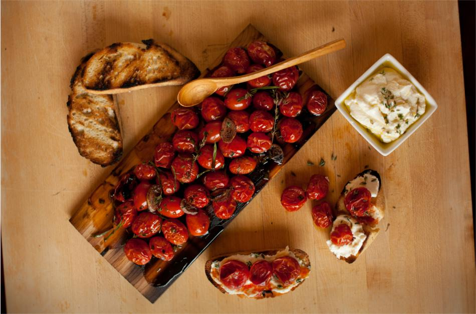 Cedar Planked Cherry Tomatoes with Olive Oil and Herbs Recipe