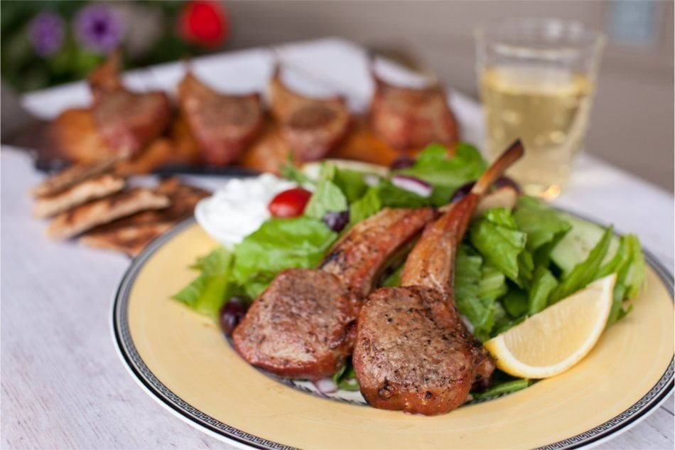 Hickory Planked Lamb Chops with Greek Salad Recipe