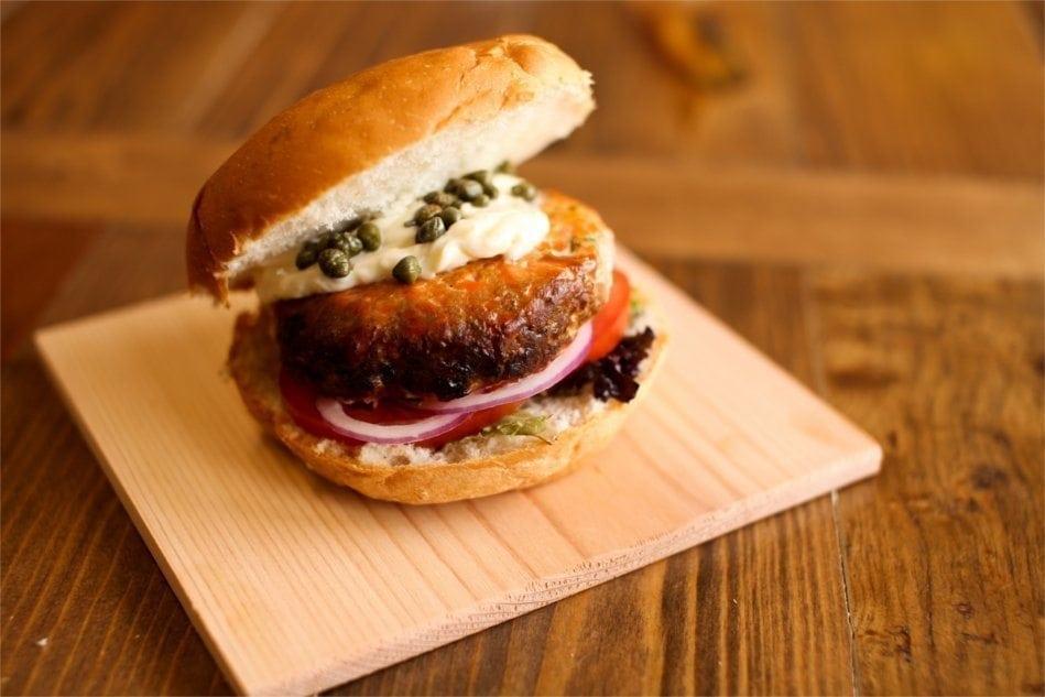 Cedar Planked Salmon Burger