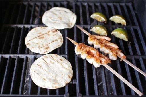 Skewered Shrimp Tacos on Grill