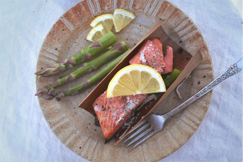 Cedar Wrapped Salmon with Asparagus Recipe
