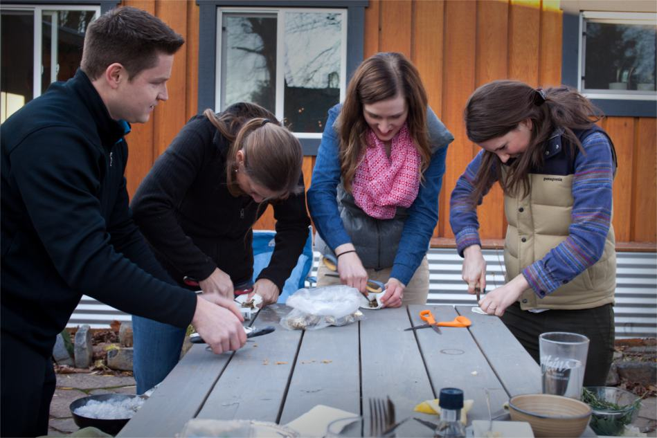 Shucking Oysters with Scissors