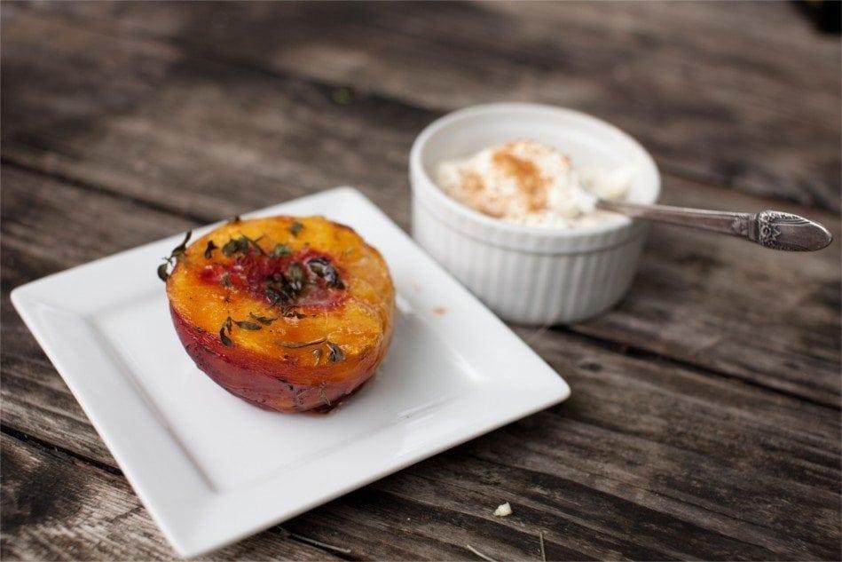 Cedar planked Peaches with Ice Cream