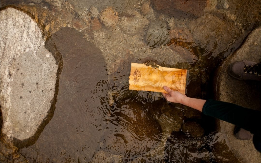Soaking Grilling Plank in Mountain Spring Water