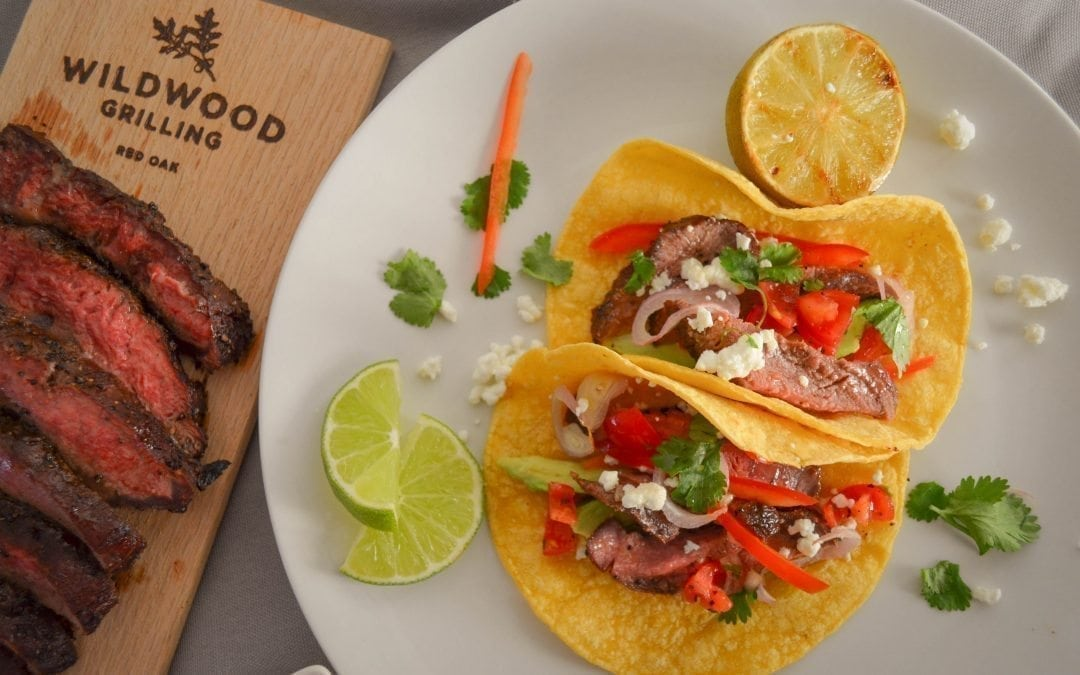 Red Oak Planked Coffee Rubbed Steak Tacos Recipe