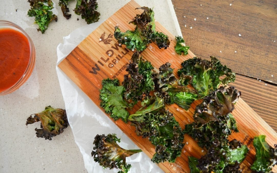 Kale Chips Grilled on a Cedar Plank