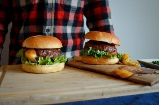 Juicy Lucy: Cheese-Stuffed Burgers Grilled on Hickory Wood Plank
