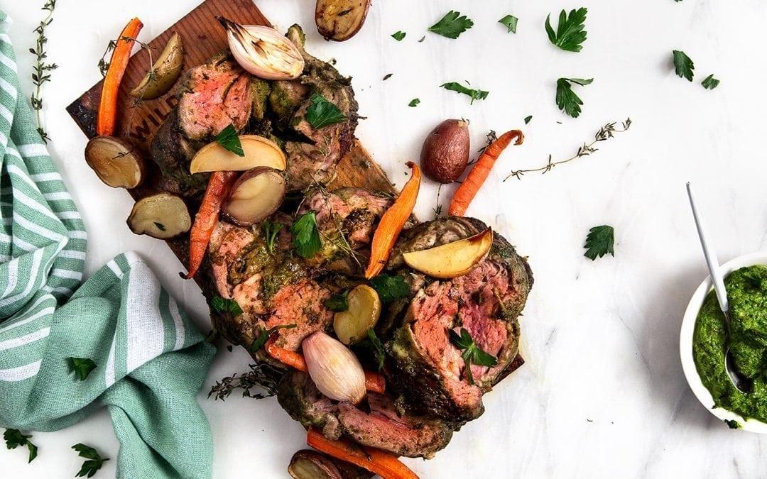 Cedar Planked Herb-Stuffed Lamb Recipe