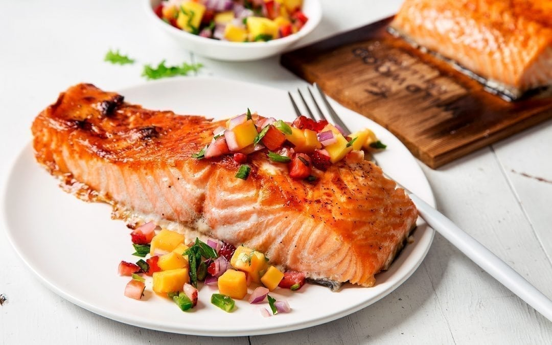 Cedar Planked Salmon Fillet with Fruit Salsa