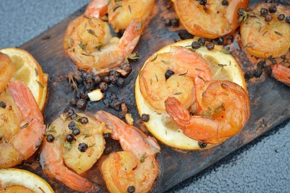 Alder Planked Lemon-Pepper Shrimp Recipe
