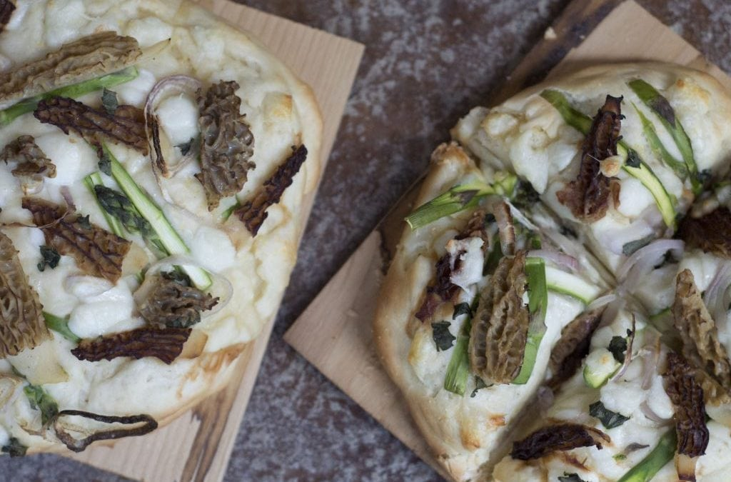 Grilled Cedar Planked Pizza with Morels and Asparagus