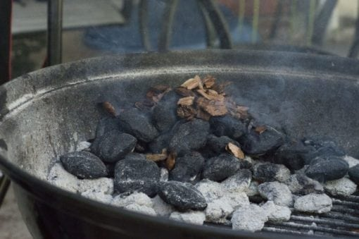 Mesquite Smoking Chips on Charcoal Grill