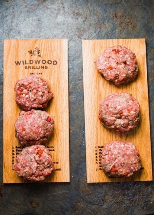 Lamb Burgers on Grilling Plank