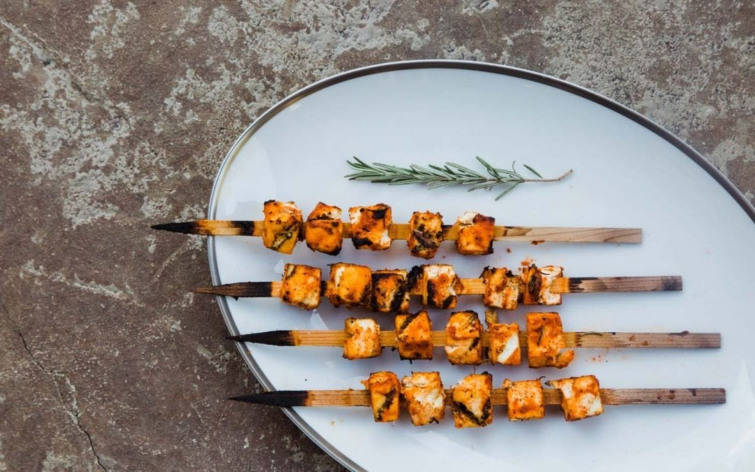 Cedar Skewered Spicy Sriracha Tofu Recipe