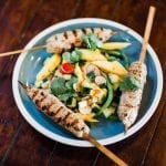 Cedar Skewered Thai Sausage Salad with Sweet Chili