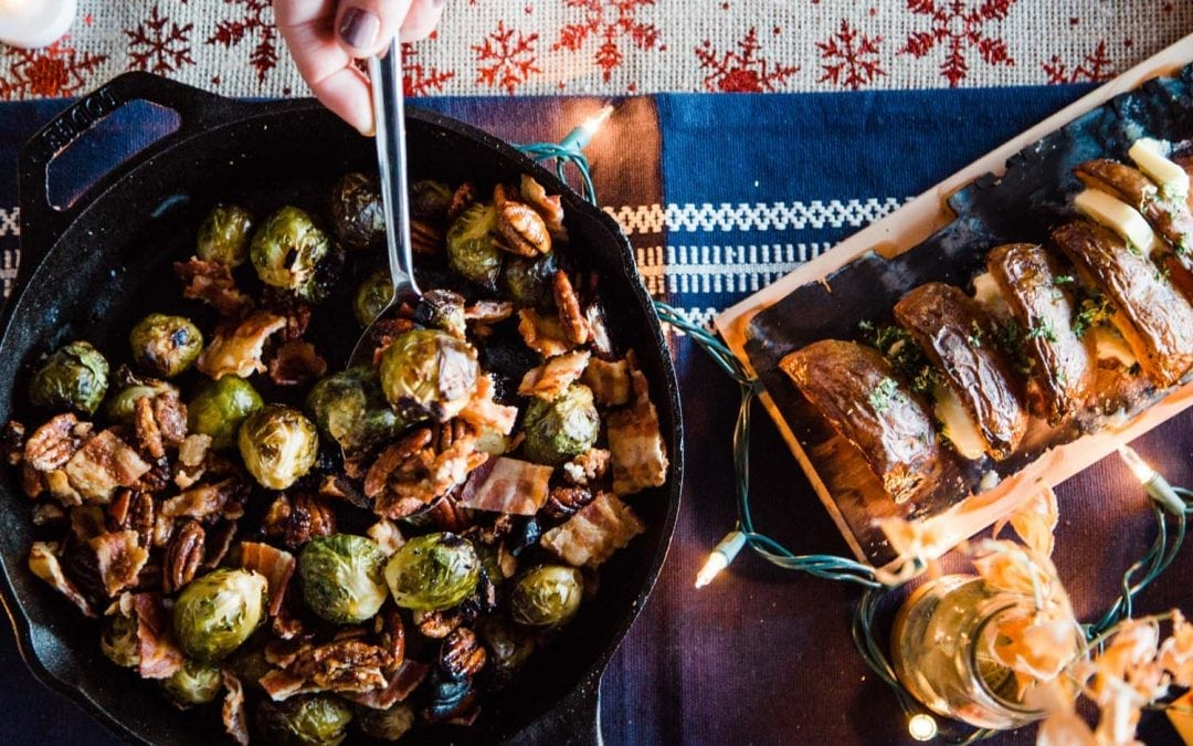 Cast Iron Brussel Sprouts with Bacon, Sage and Cedar Candied Pecans Recipe