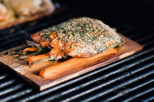 Cedar Planked Salmon Dill Vegetables