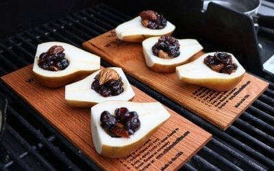 Cedar Planked Pears with Bourbon & Dried Fruit Compote