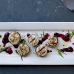 Cedar Wrapped Scallops with Cherry Jam and Tarragon Oil