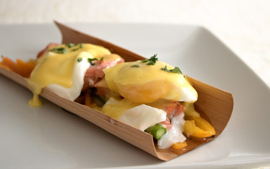 Alder Wrapped Salmon Benedict with Asparagus, Peppers, and Smoked Hollandaise Sauce