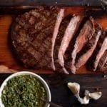 Hickory Planked Flank Steak with Chimichurri Sauce