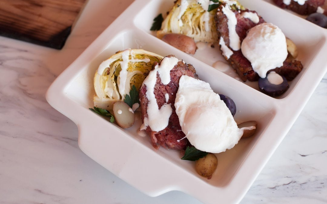 Alder Planked Cabbage Wedges with Corned Beef and Poached Eggs