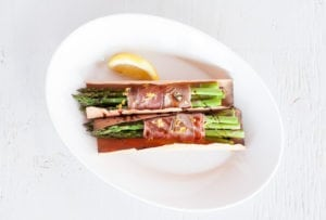 Cedar Wrapped Asparagus Bundles with Smoked Salt and Prosciutto