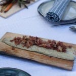 Cedar Planked Rainbow Trout with Bacon, Garlic and Chives
