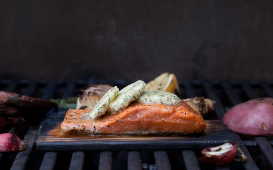 Copper River Sockeye Salmon with Herb Compound Butter with Grilled Vegetables