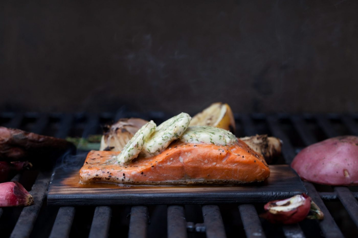 Copper River Sockeye Salmon With Herb Compound Butter With Grilled Vegetables Wildwood Grilling