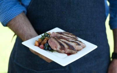 Maple Smoked Duck Breasts with Blueberry, Cherry and Basil Salsa