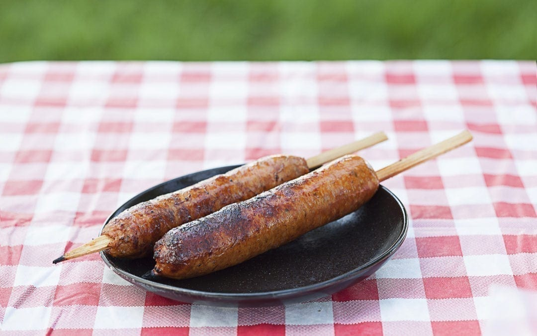 Cedar Skewered Brats