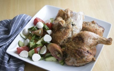 Cedar Planked Herb Buttered Spatchcocked Chicken with Tomato Salad